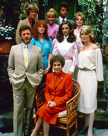 The cast of Falcon Crest. Jane Wyman, the star of the show, is seated in front.